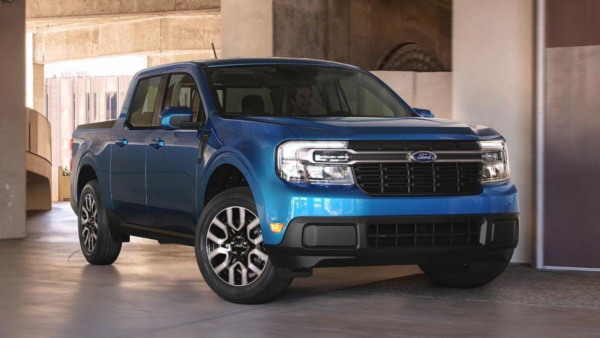 Blue Ford Maverick Hybrid Pickup Truck parked
