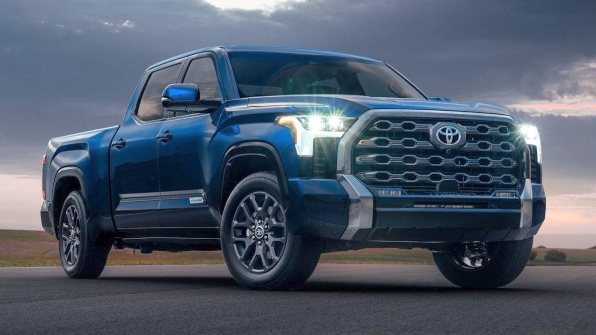 New Toyota Tundra Hybrid Pickup Truck in blue